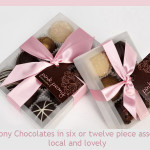 pink peony chocolates at bon bon candy store Bainbridge Island