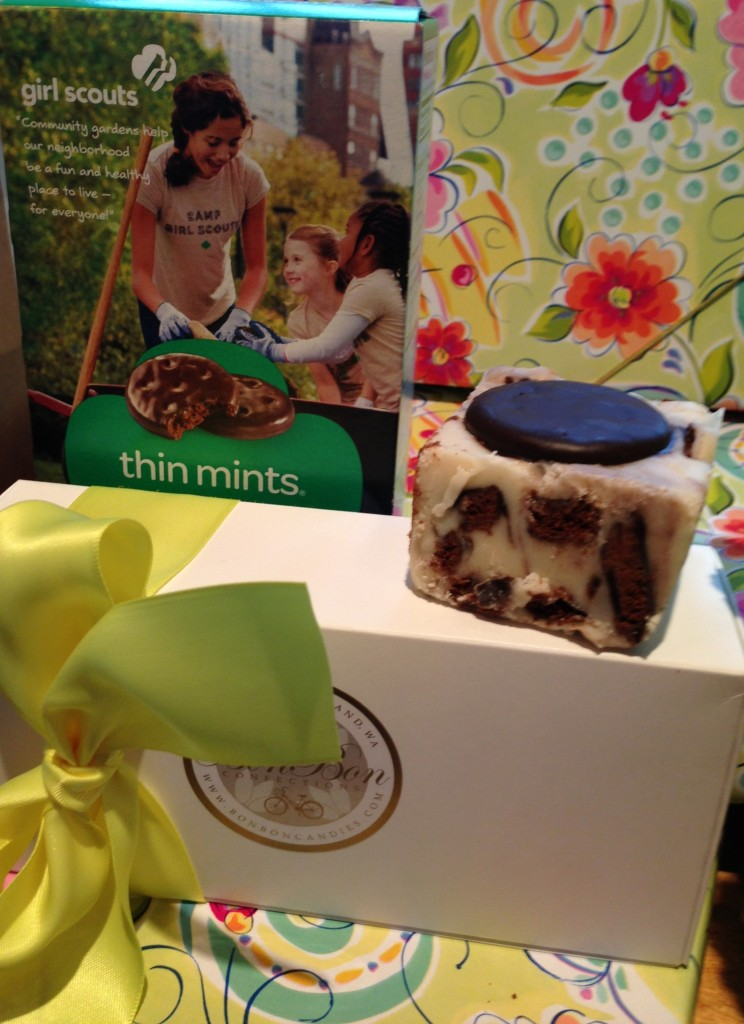 Girls Scout Thin Mint Cookies are the inspiration for our Fudge of the Month Flavor.